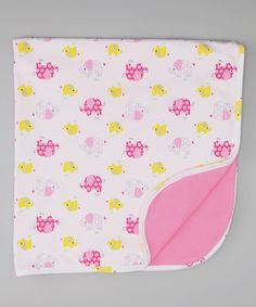 Take a look at this White & Pink Elephant Stroller Blanket by Pippen Lane on #zulily today!
