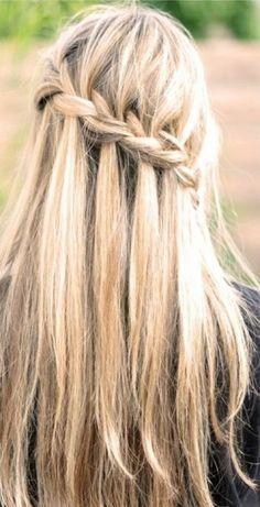 Beautiful messy waterfall braided hairstyle