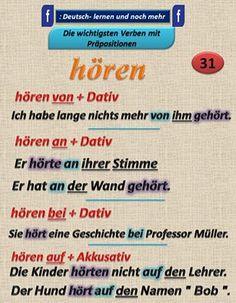 HÖREN  + Study German, German English, Learn German, Learn French, Improve Vocabulary, Grammar And Vocabulary, German Grammar, German Words, Reflexive Verben