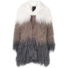 Liska panel fur hooded coat ($1,705) ❤ liked on Polyvore featuring outerwear, coats, grey, fur hood coat, fur coat, long sleeve coat, grey hooded coat and gray coat