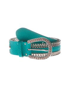 NANNI Sparkle Snake Turquoise Embellished leather belt