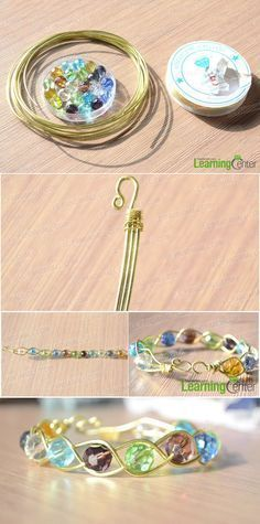 Design Your Own Wire Jewelry-How to Make a 3 Strand Braided Wire Bracelets with Beads #wirejewelry