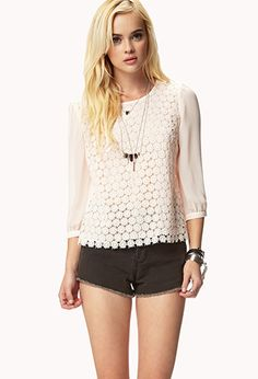 Crocheted Chiffon Blouse | FOREVER21 - 2046113061 #ForeverHoliday So cute!  So pretty!  So beautiful!  Amazing!