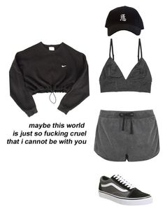 """""""Maybe"""" by nuradandelion ❤ liked on Polyvore featuring Monki, Topshop, Vans and NIKE"""