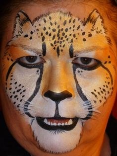 Realistic look Cheetah face painting.