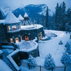 hot tub in a castle in the mountains in the snow? yes please. put my husband in there, and DEFINITELY!