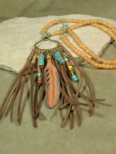 Tribal Necklace Native Necklace Leather Necklace by StoneWearDesigns