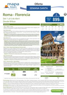 Roma y Florencia Semana Santa desde Bilbao**Precio final desde 899** ultimo minuto - http://zocotours.com/roma-y-florencia-semana-santa-desde-bilbaoprecio-final-desde-899-ultimo-minuto-4/