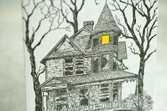 Halloween Letterpress card - Haunted house - by Papillon Press