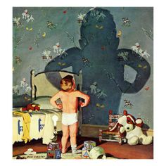 "So cute!  Look at that one little sock :)  ""Big Shadow, Little Boy"" c. 1960  Art.com"