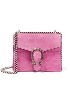 Bubblegum suede and leather Push clasp-fastening front flap Designer color: Pink Tropical Comes with dust bag Weighs approximately 2.2lbs/ 1kg Made in Italy