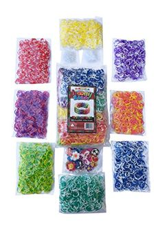 3200 Tie Dye Rainbow Colored Loom Band Refill Kit - 8 Brilliant Tie Dye Colored Rubber Bands Conveniently Separated - 400 Of Each Mixed Color - Free Bonus 100+ Clips And 50+ Charms - Refill Your Loom Band Organizer Today!, 2015 Amazon Top Rated Shaped Rubber Wristbands #Toy