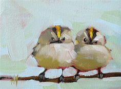 """Two Kinglets Painting"" - Original Fine Art for Sale - © Angela Moulton"