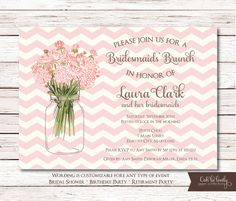 Bridal Shower Invitation, Birthday invite, Retirement party, Bridal Luncheon Invitation, DIY, Printable, Chevron, laura