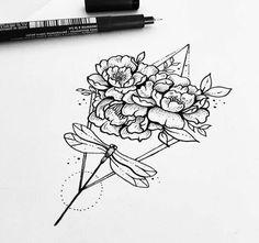 another great tattoo sketch - very botanical. Great Tattoos, Unique Tattoos, Body Art Tattoos, New Tattoos, Sleeve Tattoos, Floral Thigh Tattoos, Flower Tattoos, Blackwork, Small Tats
