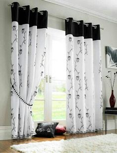 New living room white small bedrooms ideas Home Curtains, Curtains Living, Modern Curtains, Window Curtains, Black Curtains, Curtain Ideas For Living Room, Sewing Curtains, Closet Curtains, Custom Curtains