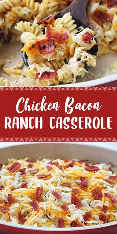 Ingredients 10 oz Rotini cooked and drained 12 oz Alfredo Sauce cup Ranch Dressing 2 cup cooked and diced Chicken 1 cup shredded Moz. Grilled Chicken Recipes, Baked Chicken Recipes, Crockpot Recipes, Cooking Recipes, Granny's Recipe, Chicken Bacon Ranch Casserole, Ranch Recipe, Diced Chicken, Alfredo Sauce