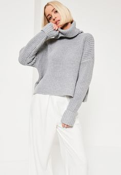 Missguided - Grey Chunky Stitch Roll Neck Jumper