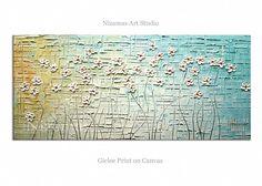 Daisies in Blue - Abstract Art Giclee on canvas home interior Decor Paula Nizamas Ready to hang