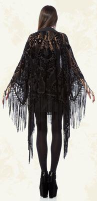 Womens - Outerwear - Crystal Visions - Velvet Burnout Tassle Robe - Style #82-209