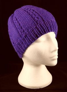 Hand knitted small mock-cable panels woollen beanie hat in 'Very Violet'. Beanies, Beanie Hats, Crochet Accessories, Hand Knitting, Knitted Hats, Knit Crochet, Cable, Wool, Purple
