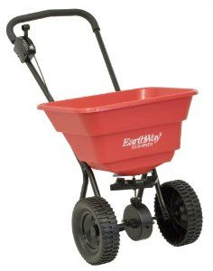 Earthway 2050SU Deluxe 80-Pound Broadcast Spreader with 10-Inch Wheels by EarthWay. $67.85. Perfect for fertilizing smaller yards. 1900-cubic-inch capacity for 80 pounds of material. Non-slip, large, 10-inch poly wheels. Features handlebar controls for precise release; comes fully assembled. Set-up broadcast spreader designed for residential use. Amazon.com                Fertilize and seed your lawn with the Earthway 80-pound set-up residential broadcast spreader. With a...