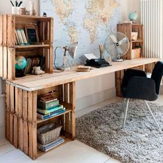 Comment fabriquer un bureau en bois DIY ? Home Office Design, Home Office Decor, Diy Home Decor, Room Decor, Home Design, Interior Office, Office Designs, Interior Design, Diy Wooden Desk