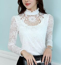 Lace Tops for Women   Plus-Size-XXL-2014-Winter-Hollow-Out-White-Lace-Blouse-Women-Vintage ...