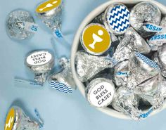 First Communion Stickers for KISSES Candy: Great idea for Boy First Communion Party #communionfavors