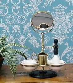 Dolls House Miniature Shaving Stand with 2 Bowls Mirror Shaving Brush and Jug   eBay
