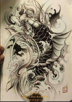 The most beautiful carp tattoos - Carp Tattoo, Koi Dragon Tattoo, Dragon Koi Tattoo Design, Pez Koi Tattoo, Koi Tattoo Sleeve, Carp Tattoo, Japan Tattoo Design, Hannya Tattoo, Irezumi Tattoos, Japanese Sleeve Tattoos