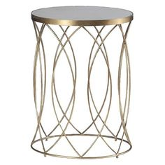 Audrina Regency Round Gold Marble End Table | Kathy Kuo Home