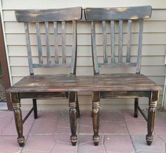 patio bench made from chairs, outdoor furniture, painted furniture, repurposing upcycling, woodworking projects