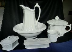 Boote Sydenham White Ironstone Toilet Set 6 Pieces - For sale on Ruby Lane $775.00