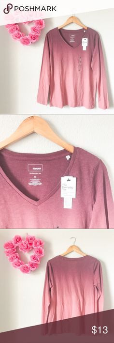 Ombré Long Sleeve Everyday Tee Shirt Brand new with tags. Ombré design. Size medium. 60% Cotton and 40% Polyester. Very soft. Made in Indonesia. Originally $18. Length-26inch Bust-19inch ShoulderWidth-15inch Sleeve-25inch. Sonoma Tops Tees - Long Sleeve