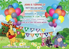 Winnie invitation, Winnie the Pooh birthday invitation, Pooh Bear invitation on Etsy, $9.90