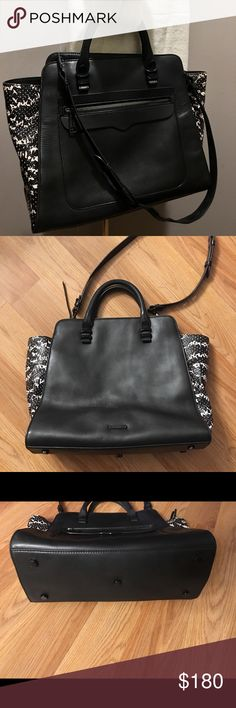 Rebecca Minkoff Large Black Leather Satchel Bag Please view photos for FLAW and measurements ... there is some bleeding on the lining from the logo label (I did it trying to clean some makeup 💄 or something off and I got too close to the leather label) otherwise the bag is in excellent condition with minor signs of use ... it is a beautiful bag very classy...  REASONABLE OFFERS WELCOME 🌻 Rebecca Minkoff Bags Satchels