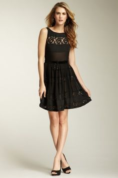 Jessica Simpson Lace Panel Tiered Dress