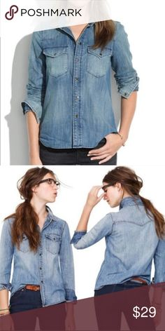 aa6d987c314 Madewell Chambray Shirt Desert Willow Flaws Madewell Western Denim snap  front shirt. front snap pockets