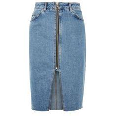 Women's Topshop Zip Denim Skirt (€58) ❤ liked on Polyvore featuring skirts, mid denim, denim skirt, topshop skirts, 80s skirts, zipper slit skirt and blue skirt