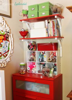 The handy storage cubes below the shelves are perfect for displaying jars and other clear containers that I use to hold beads, buttons and other small items.