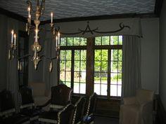 Suede applique on linen top treatment over panels