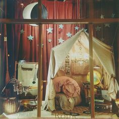 Moonrise Kingdom inspired window display at the Paris Market in Savannah, GA. Store Window Displays, Library Displays, My New Room, My Room, Store Front Windows, Paris Markets, Moonrise Kingdom, Visual Merchandising, Playroom