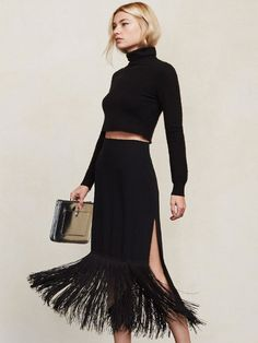 Reformation Naya Skirt with a high slit and fringe trim