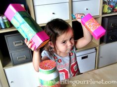 Recycled Noise Makers made from food boxes, cans, and plastic botttles. Great kid's craft!