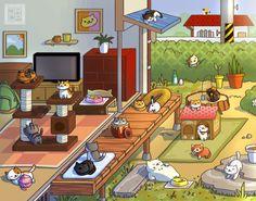 Neko Atsume Playful Days Prints Available by Gryphon-Shifter on DeviantArt Cute Little Kittens, Cats And Kittens, Neko Atsume Wallpaper, Neko Atsume Kitty Collector, Klepto Cat, Skins Minecraft, Kitty Games, Kawaii Chibi, Pokemon