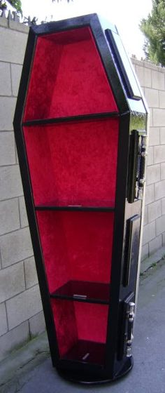 Coffin bookcase.  this is where i'd put my mysteries and romantic suspense