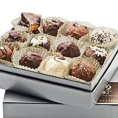 Artisan Crafted Fresh Crème Truffles - 24 Christmas Gift Ideas - Southernliving. Who doesn't love getting a box of chocolates for Christmas? These old-world truffles, made with fresh dairy cream, roasted nuts, and pure fruit purees, are scooped and rolled by hand in Tulsa, Oklahoma. kokoachocolatier.com; $70 (24 truffles)