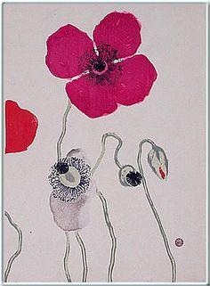 Koshiro Onchi Poppies, 1928 woodblock print