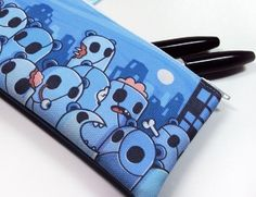 This listing is for the 7 Zombie Panda Zipper Pouch!    This pouch measures 7 (17.7 cm) wide and 3 high (7.7 cm).  You can use it to hold your markers,